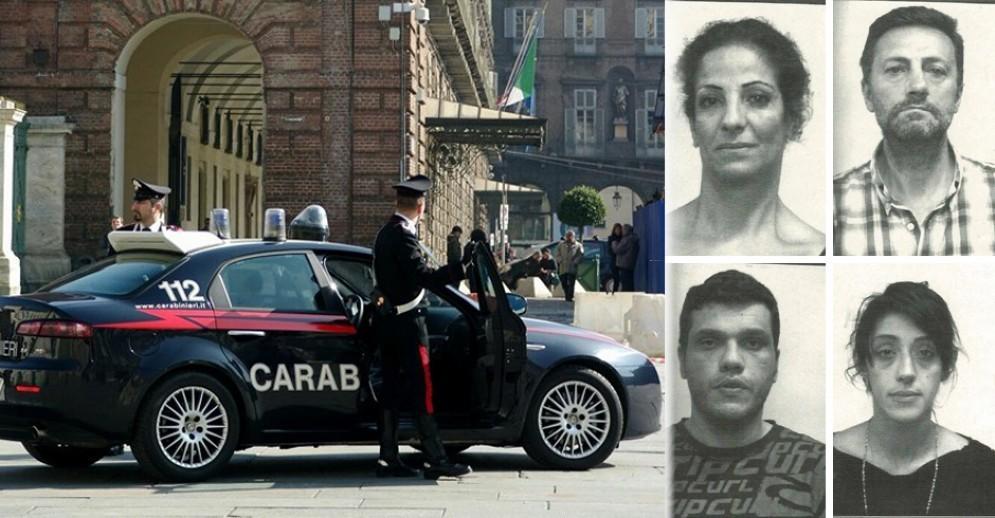 I quattro truffatori arrestati dai carabinieri