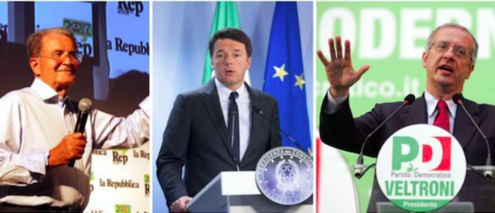 Romano Prodi, Matteo Renzi e Walter Veltroni: tutti contro il segretario Pd?