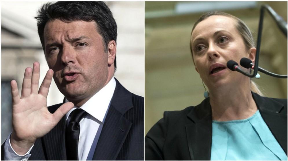 Il segretario Pd Matteo Renzi e la leader di Fratelli d'Italia Giorgia Meloni