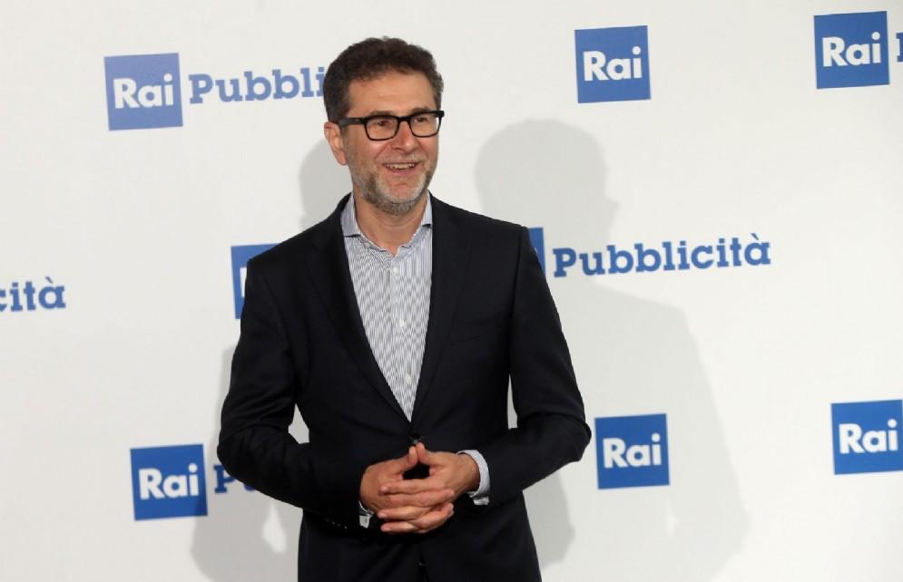 Fabio Fazio durante la presentazione dei palinsesti Rai a Milano. Il conduttore intascherà 70 mln di euro in 4 anni