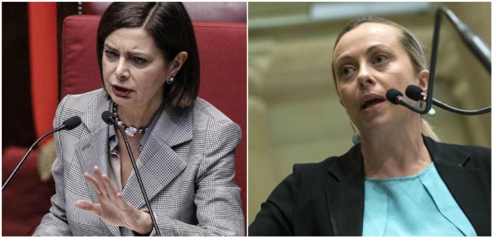 Scontro frontale tra Laura Boldrini e Giorgia Meloni.