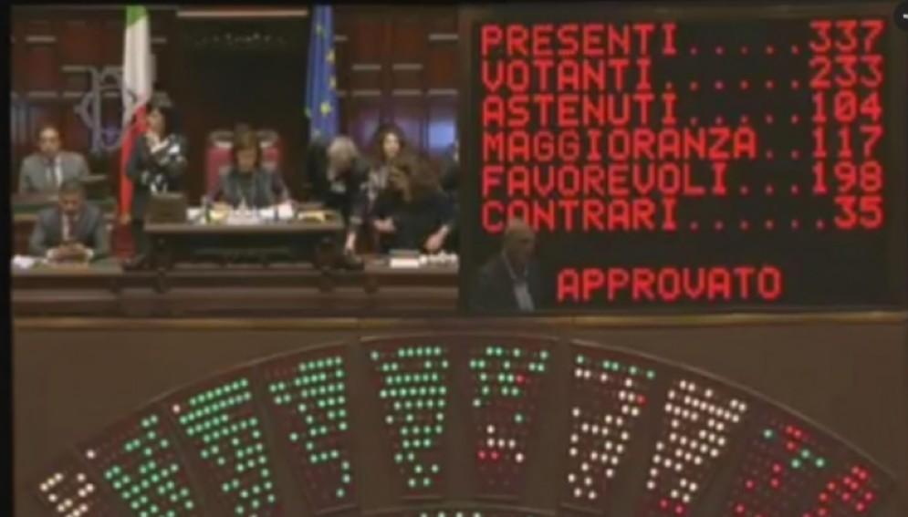 Il tabellone con il risultato della votazione che da il sì definitivo dell'Aula della Camera al disegno di legge che introduce nell'ordinamento italiano il reato di tortura a Roma