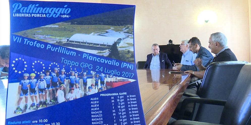 Sergio Bolzonello (Vicepresidente Regione FVG e assessore Attività produttive, Turismo e Cooperazione) alla presentazione del VII Trofeo Purlilium di pattinaggio
