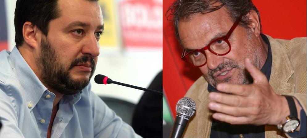 Il leader della Lega Matteo Salvini e il fotografo Oliviero Toscani