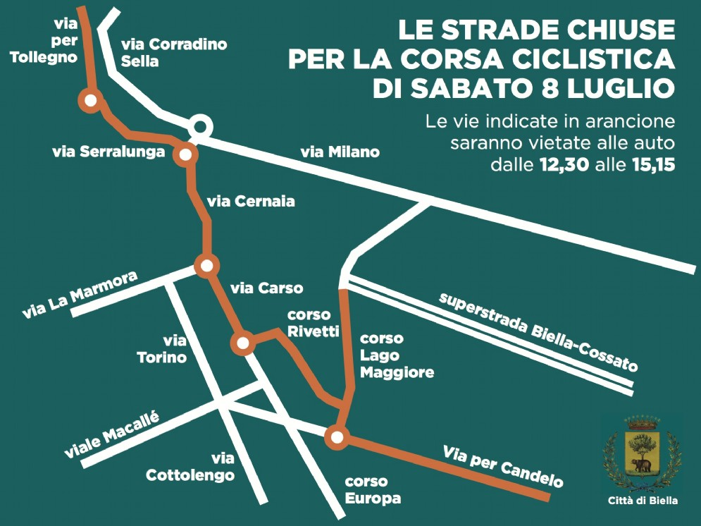 Le strade chiuse del Biellese per la corsa ciclistica di sabato 8 luglio 2017