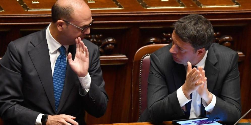 L'ex premier Matteo Renzi e l'ex ministro dell'Interno Angelino Alfano