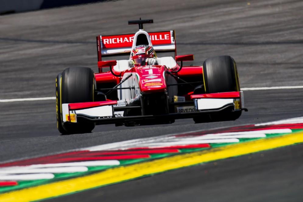 Leclerc in azione in Austria con la monoposto del team Prema