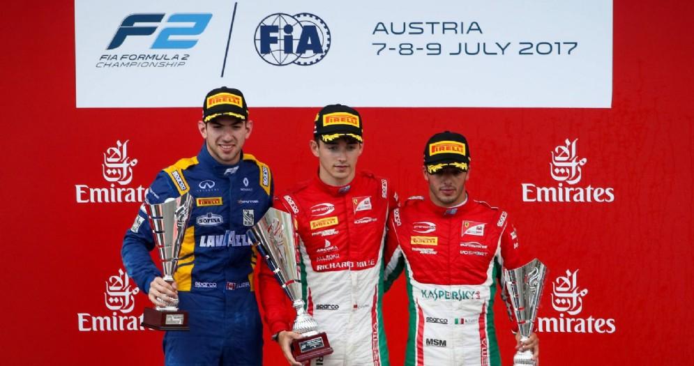 Il podio della F2 nella gara-1 in Austria: Charles Leclerc, Nicholas Latifi e Antonio Fuoco