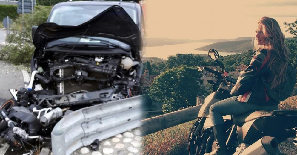 La moto schiacciata dal Van e Elisa Ferrero, in un felice ricordo