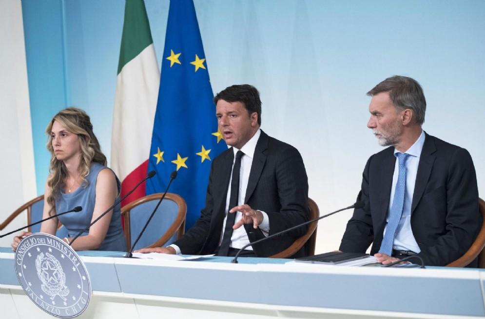 Il segretario del Pd Matteo Renzi con Marianna Madia