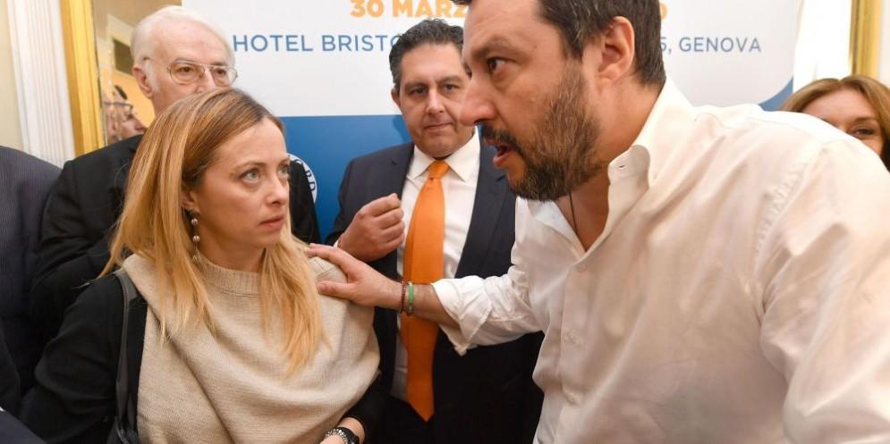Giorgia Meloni rimprovera Matteo Salvini.