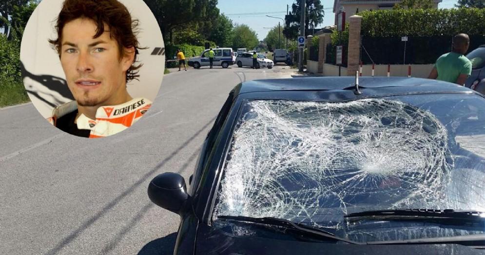 La Peugeot che ha travolto Nicky Hayden con il parabrezza sfondato nell'incidente