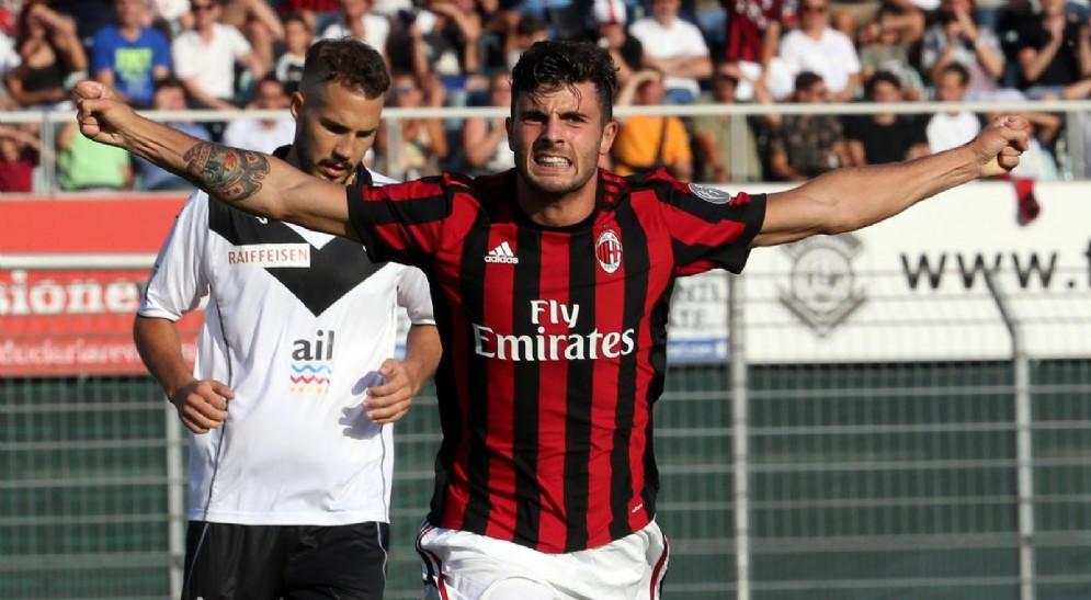 La gioia di Cutrone dopo il primo gol del Milan
