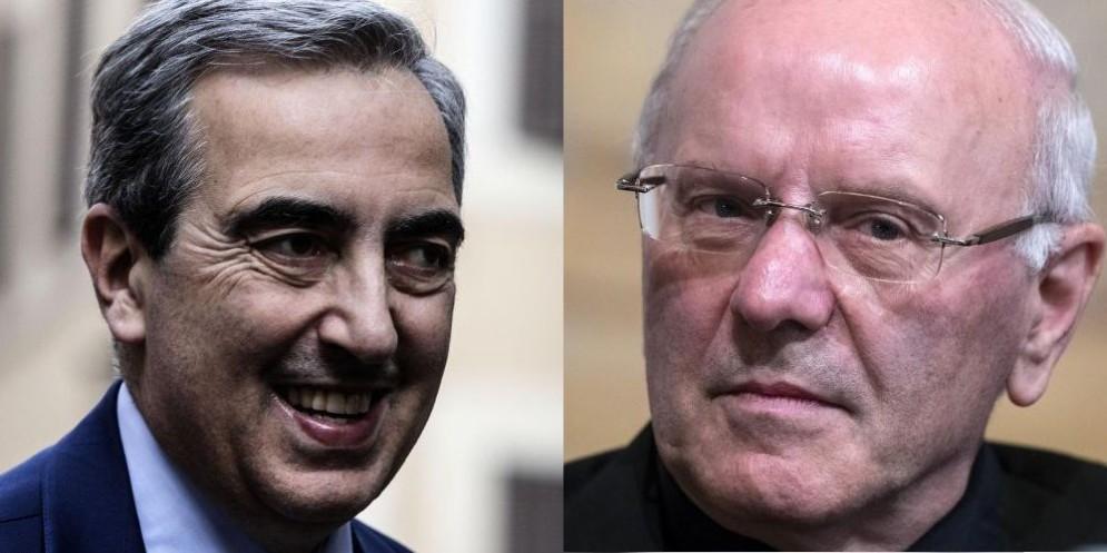 Il senatore di FI Maurizio Gasparri e il segretario generale della Cei mons. Galantino