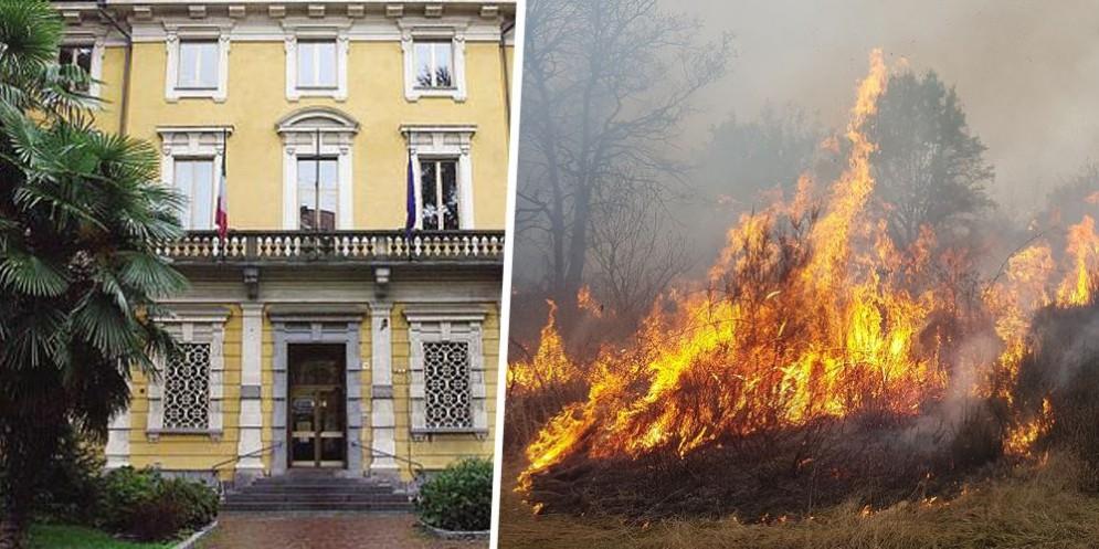 Tribunale e terreni in fiamme