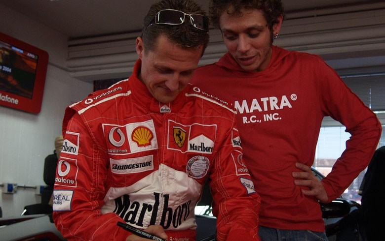 Valentino Rossi con Michael Schumacher