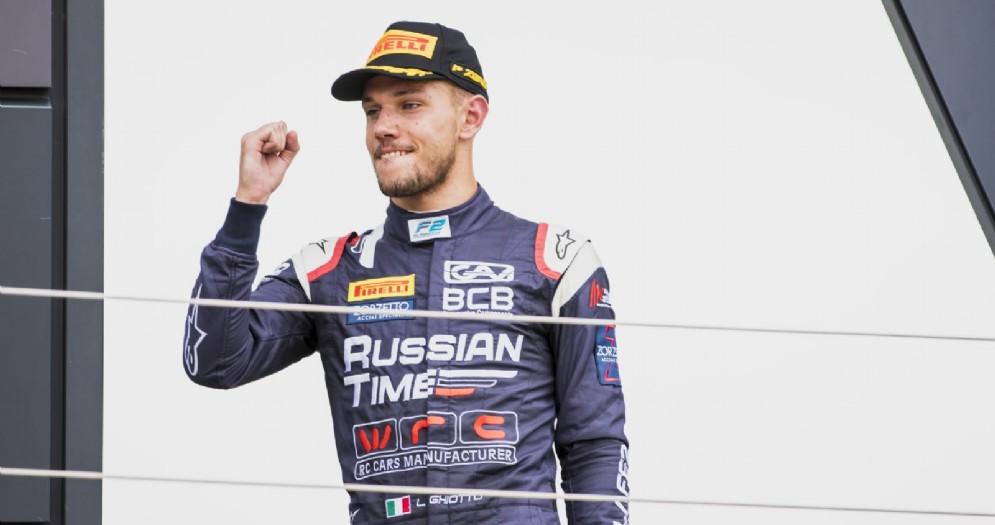 Luca Ghiotto sul podio della Formula 2 a Silverstone