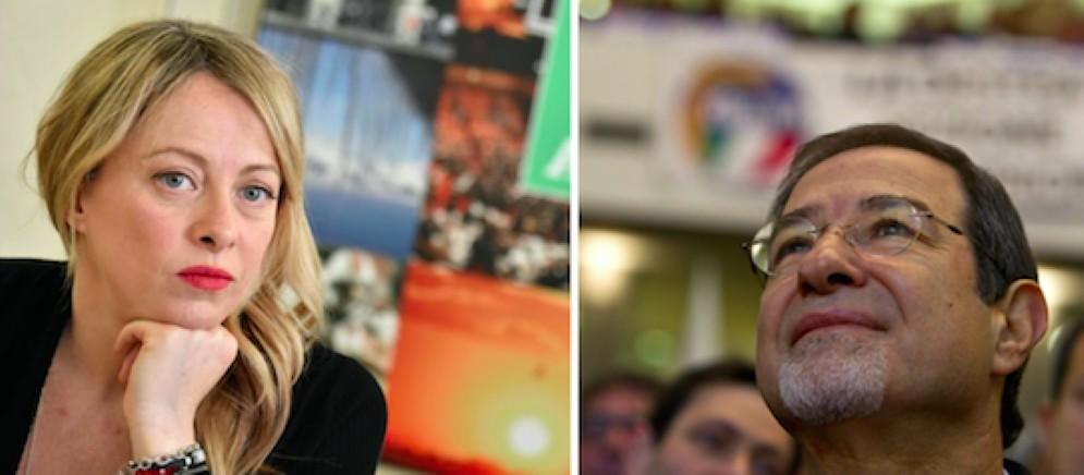 La leader di Fratelli d'Italia Giorgia Meloni e accanto Nello Musumeci