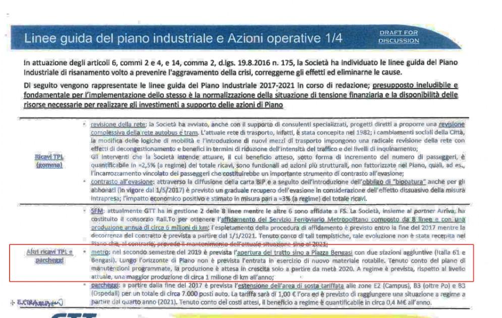 Il documento di Gtt che annuncia la fine dei lavori nel secondo semestre 2019