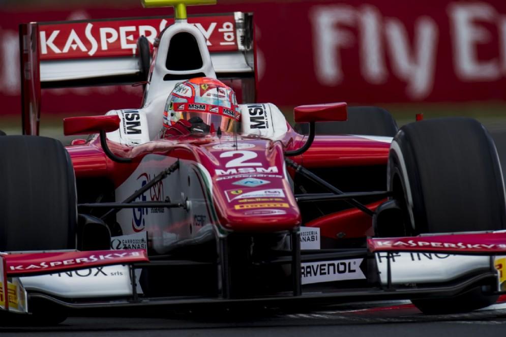 Antonio Fuoco in azione sulla monoposto del team Prema nelle qualifiche all'Hungaroring