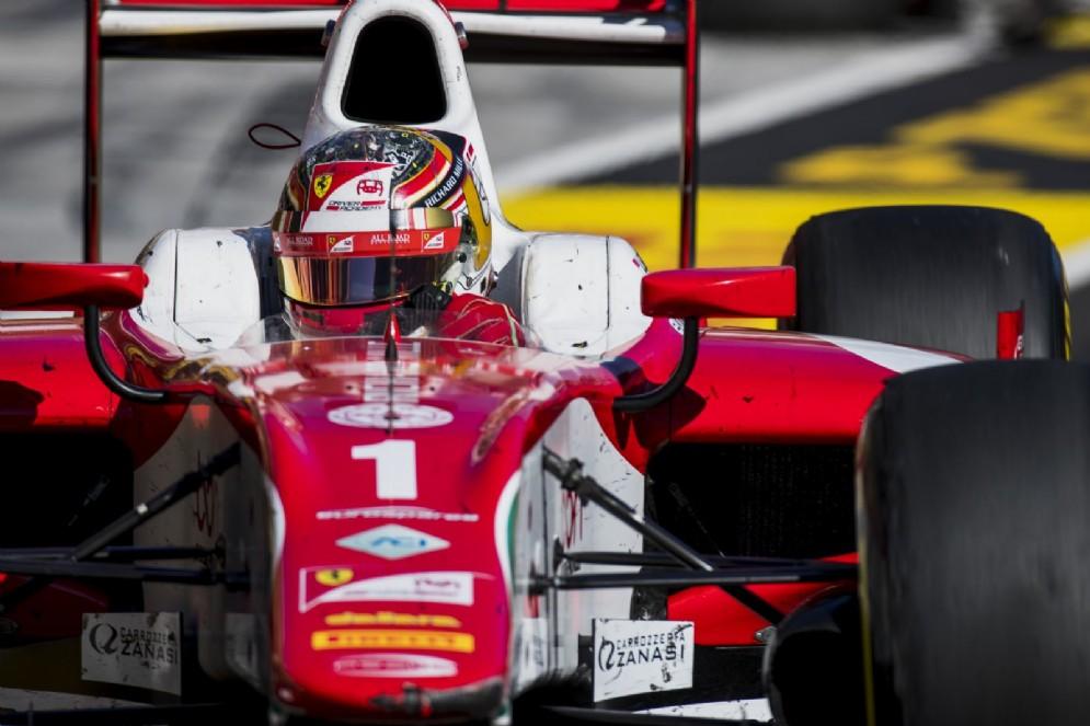 Leclerc in azione in Ungheria con la monoposto del team Prema