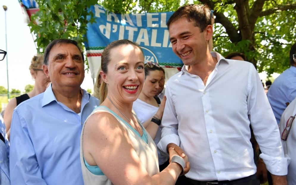 Giorgia Meloni E Roberto Di Stefano durante la campagna elettorale delle elezioni amministrative a Sesto San Giovanni.