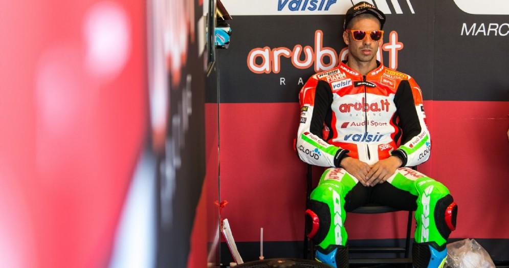 Marco Melandri ai box Ducati