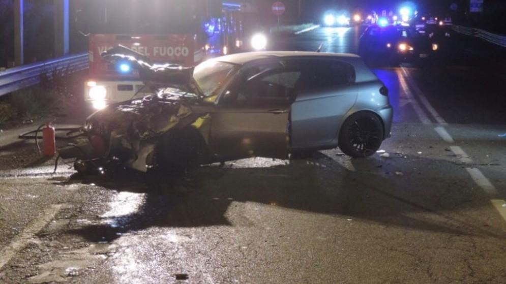 Un'altra immagine dell'incidente di questa notte