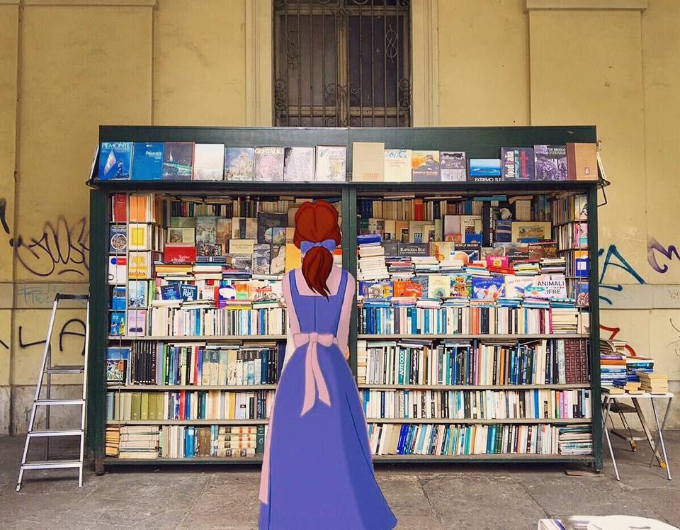 Bella tra le bancarelle di libri di via Po