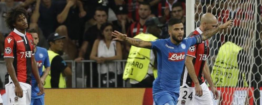 Lorenzo Insigne esulta dopo il goal dello 0-2 del Napoli al Nizza