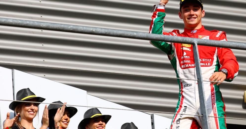 Charles Leclerc sul podio a Spa-Francorchamps