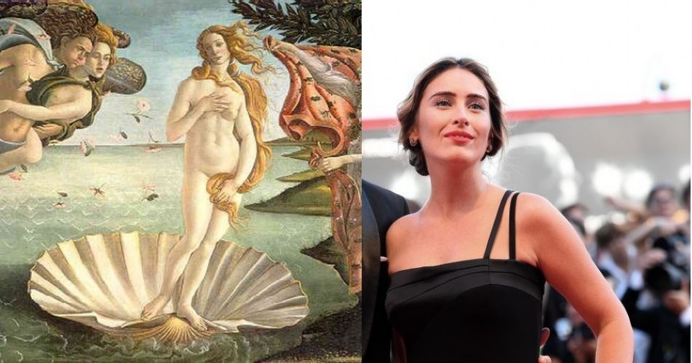 Maria Elena Boschi sul red carpet di Venezia paragonata alla Venere di Botticelli