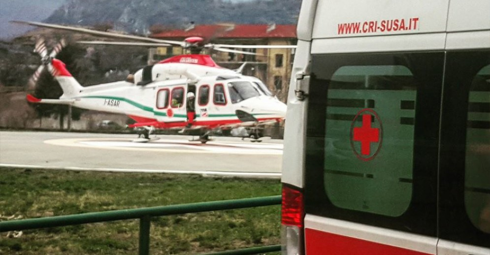 Il bambino è stato trasferito con urgenza in eliambulanza a Torino