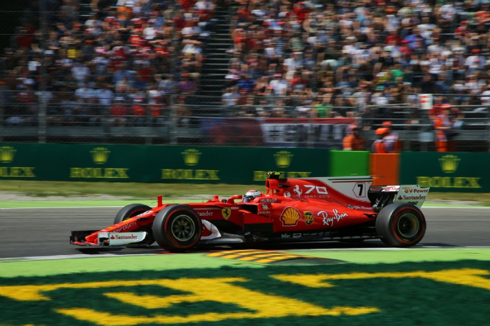 Kimi Raikkonen in pista al venerdì del GP d'Italia