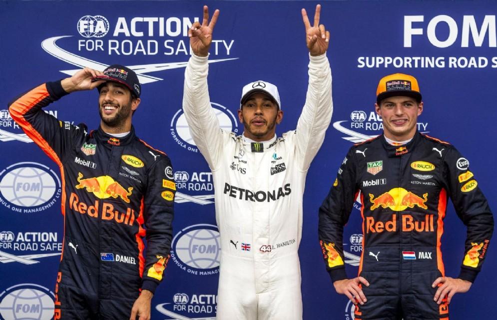 Il podio delle qualifiche del GP d'Italia: Hamilton, Verstappen e Ricciardo