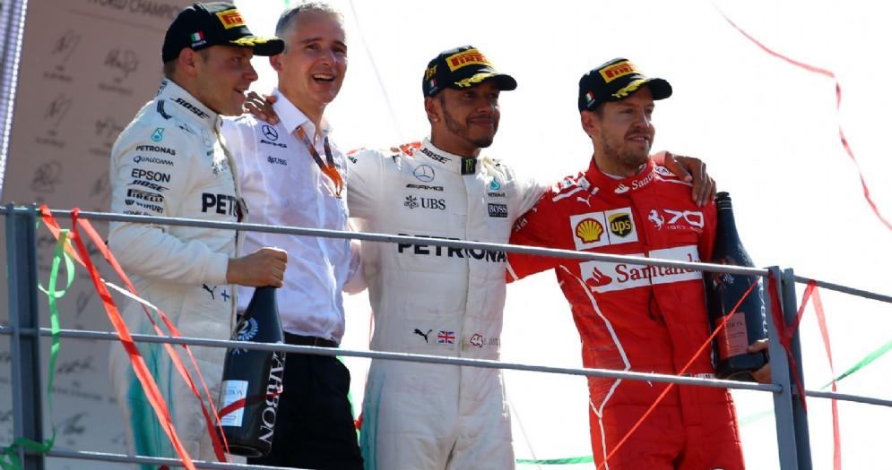 Il podio del GP d'Italia: Hamilton, Bottas e Vettel