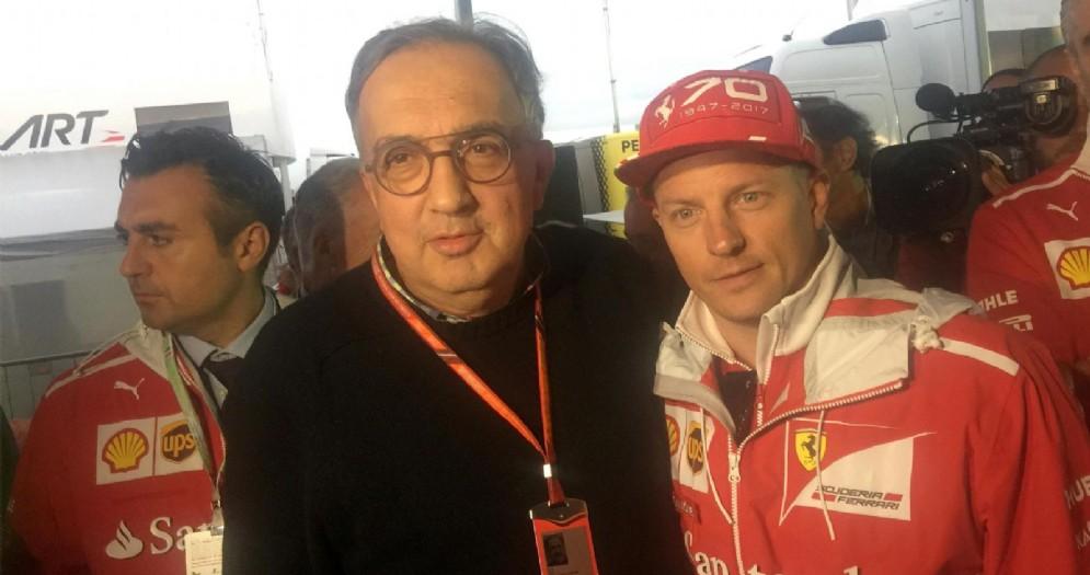 Il presidente della Ferrari Sergio Marchionne con Kimi Raikkonen nel paddock di Monza