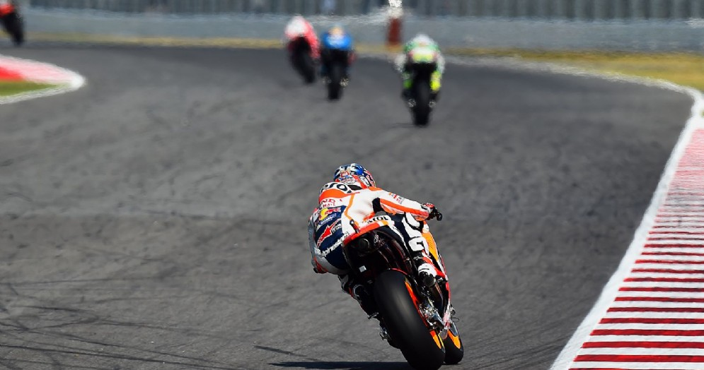 Dani Pedrosa in azione sulla sua Honda sul circuito di Misano