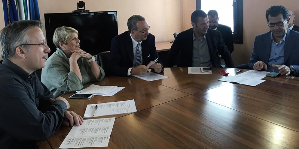 Diego Cal, Alessandra Montini, Sergio Bolzonello, Alessandro Ciriani e Pietro Tropeano alla presentazione dell'autunno musicale dell'orchestra S. Marco