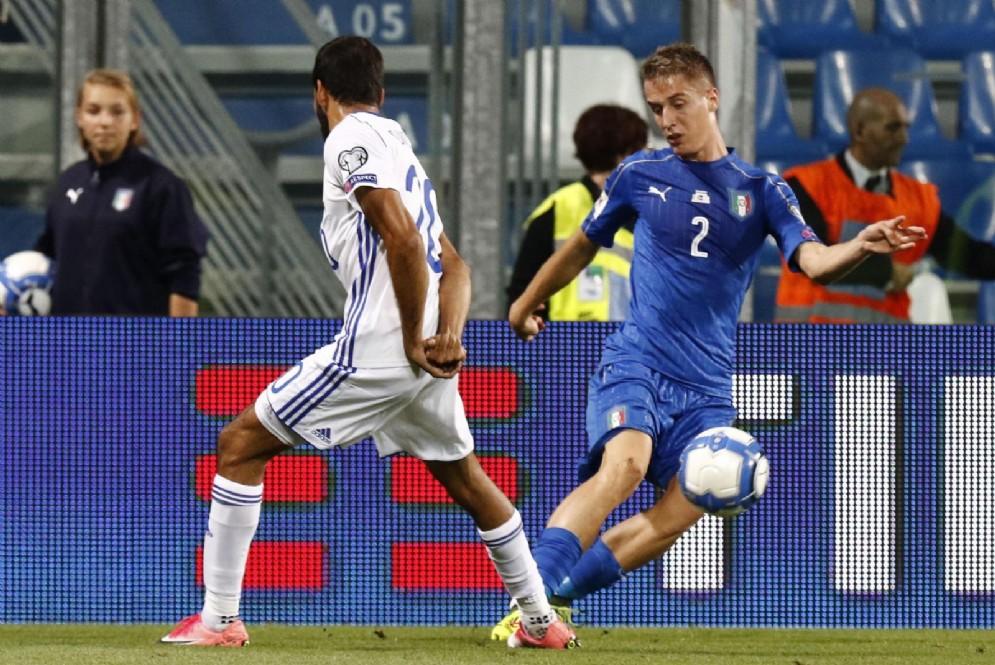 Andrea Conti, impegnato durante Italia-Israele 1-0