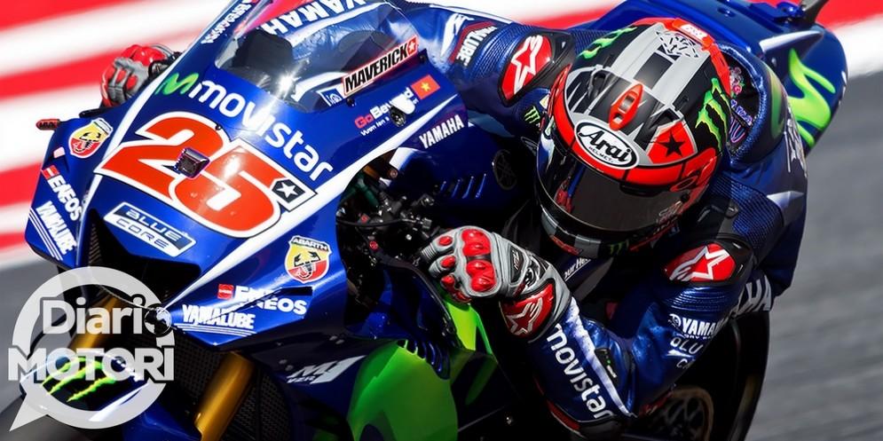Maverick Vinales in sella alla Yamaha nel venerdì del GP di San Marino