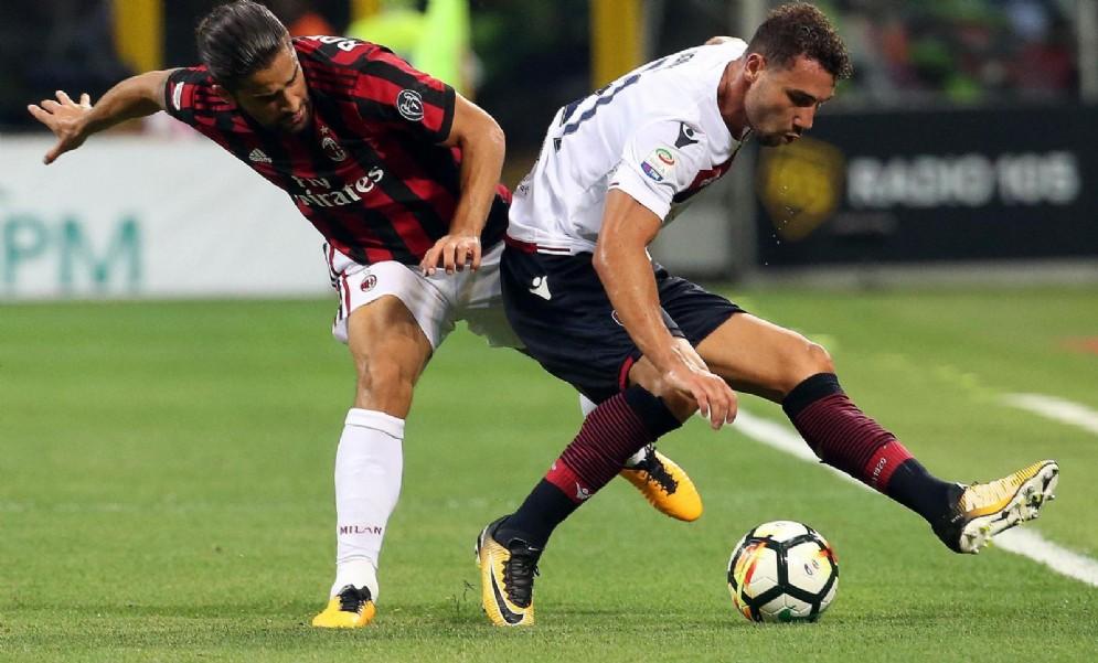 Il mancino svizzero Ricardo Rodriguez in azione con la maglia del Milan