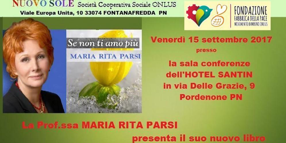 A Pordenone la nota psicoterapeuta Maria Rita Parsi per un incontro con la cooperativa Nuovo Sole