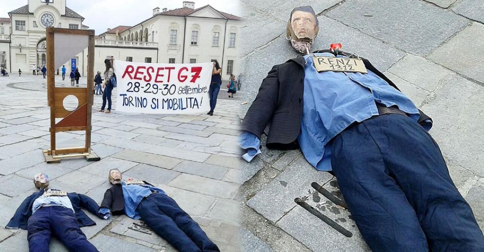 I manichini decapitati davanti alla Reggia di Venaria