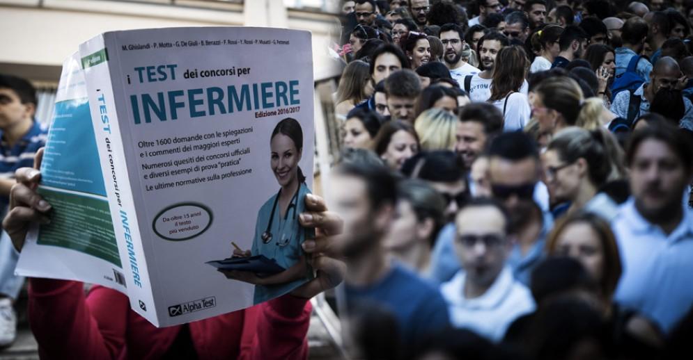 Un momento del concorso per infermieri a Roma