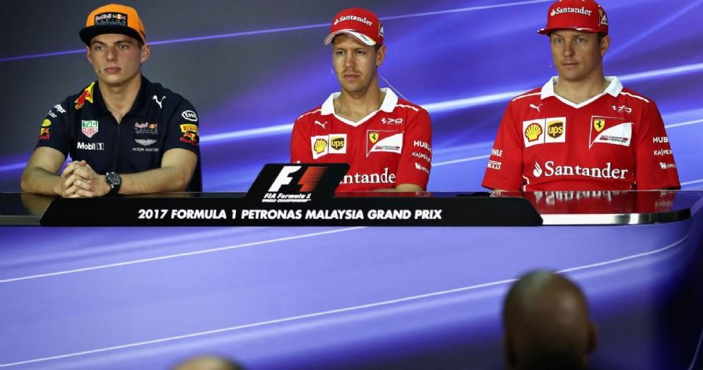 Max Verstappen, Sebastian Vettel e Kimi Raikkonen in conferenza stampa