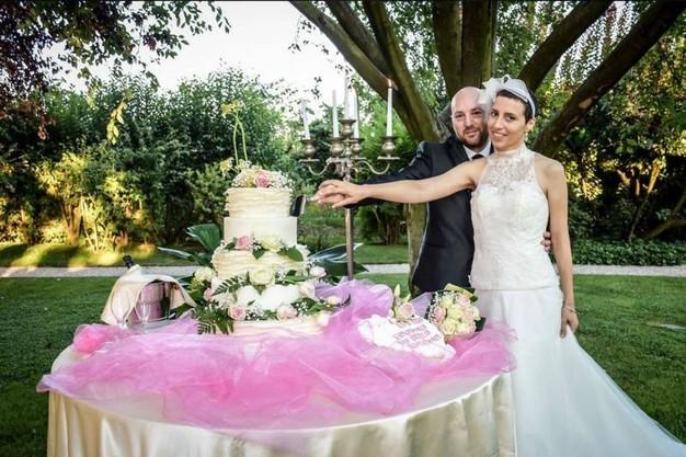 Elisa Girotto con il marito Alessio il giorno del matrimonio