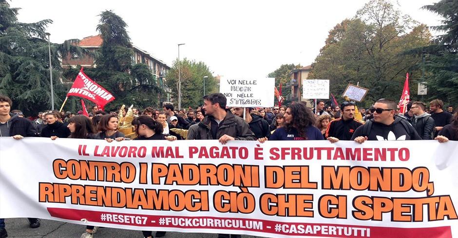 Manifestazione anti G7 parte da corso Cincinnato