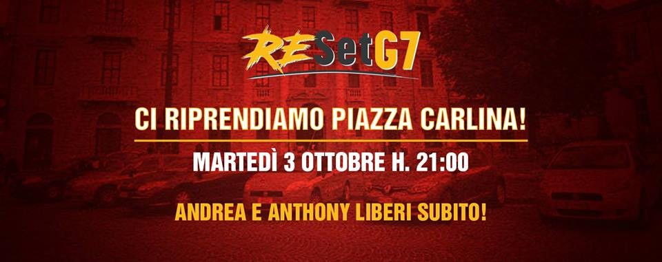 La locandina della manifestazione prevista domani sera a Torino