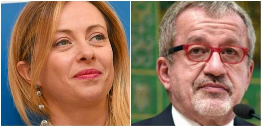 La leader di FdI Giorgia Meloni e il governatore della Regione Lombardia Roberto Maroni